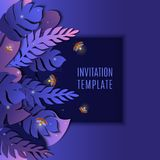 Tropical purple promo template. Trendy summer tropical palm leaves promo banner text placeholder. Floral template in 3D paper cut out style for invitations Royalty Free Stock Photos