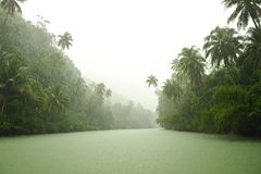 Tropical rain above river Stock Images