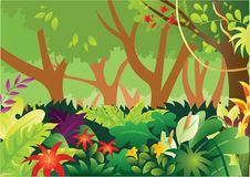 Tropical Rain Forest Vector Illustration. For any purpose such as cover and illustration book, website, social media, blog, stationary, print stuff, poster Stock Illustration