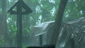 Tropical rain. Tropical heavy rain in tent camp at the Similan Islands, Thailand stock video footage