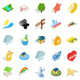 Tropical rain icons set, isometric style. Tropical rain icons set. Isometric set of 25 tropical rain vector icons for web isolated on white background Royalty Free Stock Image