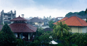 Tropical rain. In Kuta, Bali province, Indonesia Royalty Free Stock Photography