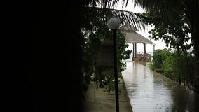 Tropical rain in maldives. Strong rain showers. The roofs of bungalows under the influence of strong wind and rain. Maldives. Hand camera shaking. Focusing stock video