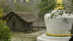 Tropical rain. Nepal. Buddhist stupa and Tropical rain. Nepal stock video