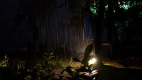 Tropical rain thunderstorm, lightning flash. Tropical rain thunderstorm lightning flash on seashore Thailand stock footage