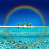 Tropical Rainbow Island. Bungallows in a Tropical Rainbow Island Stock Photography
