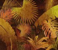 Tropical rainforest oil painting background. Yellow Retro Royalty Free Stock Photos