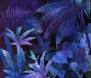 Tropical rainforest oil painting blue background Royalty Free Stock Photo