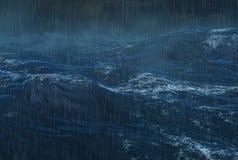 Tropical Rainy Cyclone on the Ocean stock illustration