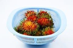 Tropical rambutan fruit on white background Stock Images