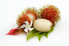 Tropical rambutan isolated on white. Decorared with flowers Stock Images