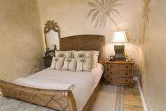 Tropical Rattan Bedroom Royalty Free Stock Photography