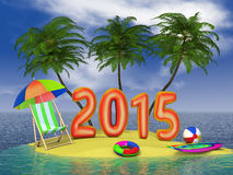 Tropical 2015. Red figures 2015 on the tropical island Vector Illustration