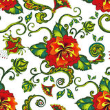 Tropical red floral pattern seamless background Royalty Free Stock Photo