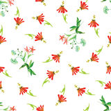 Tropical red flowers watercolor seamless vector print Stock Image