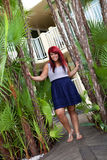 Tropical Red Head Girl stock photography