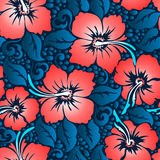 Tropical red hibiscus floral 10 seamless pattern.  vector illustration