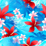 Tropical red hibiscus flowers with surfing wave seamless pattern Stock Image