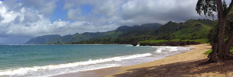 Tropical Red Sand Beach. Red sand beach and tropical rain forest coastline under partly cloudy sky Stock Photos