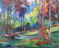 Red tree forest impressionism acrylic oil painting. Tropical red tree forest view landscape paint impressionism acrylic oil fine art painting Royalty Free Stock Photography