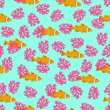 Tropical reef seamless pattern anemone fish.Hand drawn clownfish ocean colorful underwater background.Vacation, holiday. Tropical reef seamless pattern anemone Stock Images