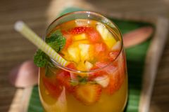 Free Tropical Refreshing Lemonade Of Pineapple, Red Strawberry , Close Up Stock Photos - 118870113
