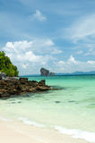 Tropical remote island in the ocean. Perfect sky and Tropical remote island in the ocean Stock Image