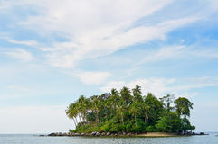 Tropical remote island in the ocean Royalty Free Stock Photos