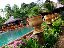 Tropical resort. Swimming pool at a tropical resort in Thailand - travel and tourism Stock Images