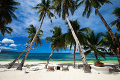 Tropical Resort. On perfect white sand beach in Boracay, Philippines Royalty Free Stock Image