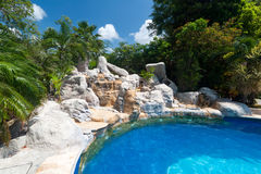 Tropical resort. With swimming pool in Mexico Royalty Free Stock Photos