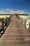 Tropical resort. With wooden bridge Royalty Free Stock Image