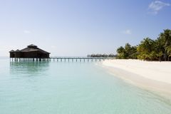 Tropical Resort. Clear water on foreground stock images