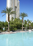 Tropical Resort. A tropical resort swimming pool with high-rise in the background Stock Photography