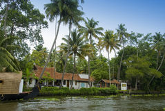 Tropical resort. A tropical resort amidst coconut trees on the backwaters in Kerala, India Stock Photography