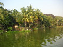 Tropical resort. Waterside tropical resort, in Burma stock image
