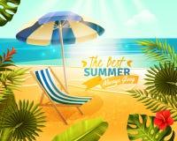 Tropical Resort Cartoon Illustration. Tropical resort with beach sea and palm trees cartoon vector illustration Royalty Free Stock Image