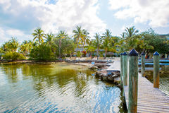 Tropical resort with chaise longs and hammocks. Near palms on sandy beach, Key West, Florida, USA royalty free stock image