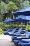 Tropical resort. Deck chairs at a tropical resort in Thailand - travel and tourism image Stock Photo