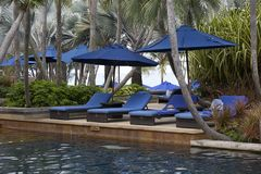 Tropical resort. Deck chairs at a tropical resort in Thailand - travel and tourism image Royalty Free Stock Photo