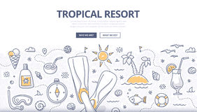 Tropical Resort Doodle Concept Stock Image