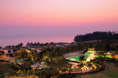 Tropical resort at dusk. Twilight time at one tropical resort in Rayong province, Thailand Stock Photo