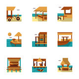 Tropical resort flat color icons Royalty Free Stock Image