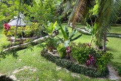 Tropical resort garden. Lush garden grounds at a tropical resort in Asia shows the relaxing features of a walking path, a cool, shaded cabana and lush growth Stock Photos