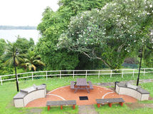 Tropical resort garden with barbecue pits. A top view photograph of a beautiful natural style tropical garden, with two bbq pit facility, and wooden gardens Stock Photos