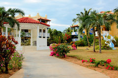 Tropical resort gazebo and gardens Stock Image