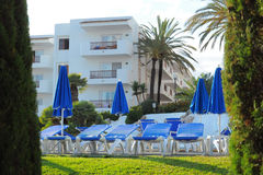 Tropical resort hotel, Cala d'Or, Mallorca Royalty Free Stock Images