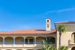 Tropical Resort Hotel with Red Tile Roof Royalty Free Stock Photos