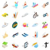Tropical resort icons set, isometric style. Tropical resort icons set. Isometric set of 25 tropical resort vector icons for web isolated on white background Royalty Free Stock Photo