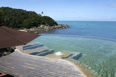 Tropical resort infinity pool koh samui Royalty Free Stock Images